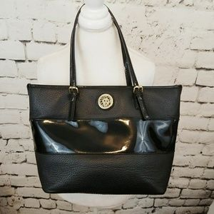 Anne Klein black faux leather vegan tote